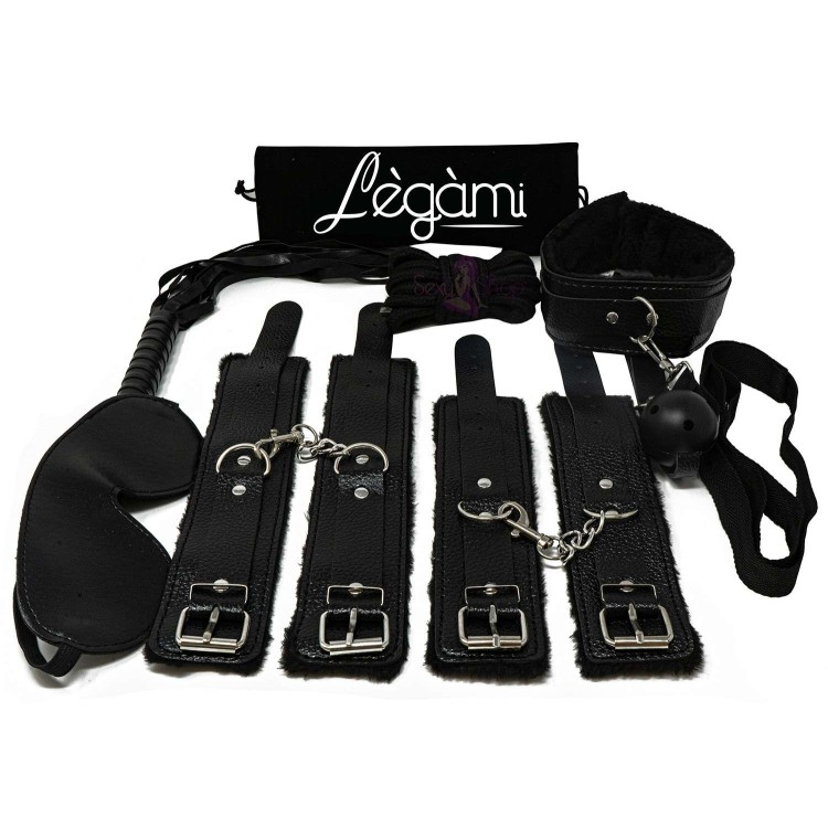 Lègàmi - 8-Piece Bondage Kit in eco-leather with Rope Whip Wristbands - Black