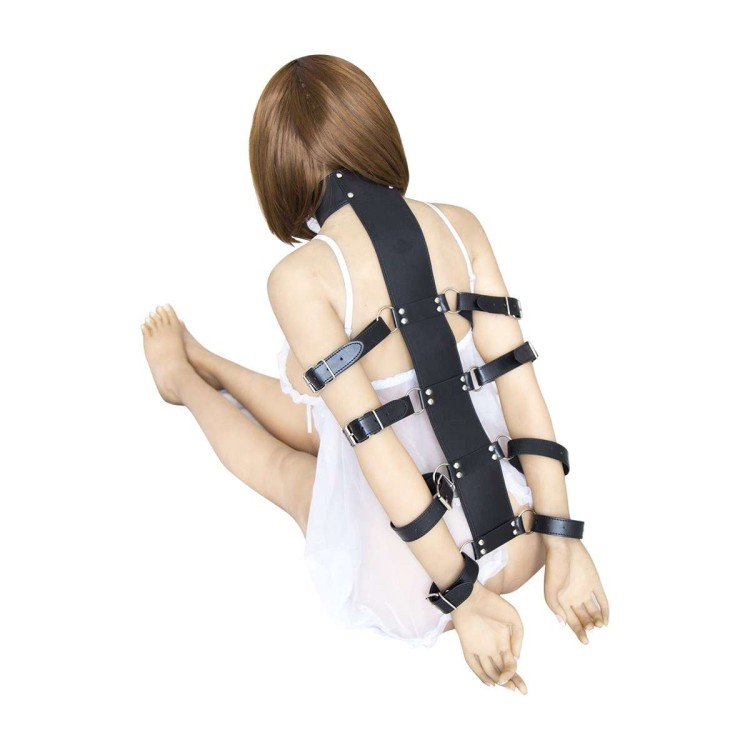 Integral harness in faux leather with adjustable straps - Black